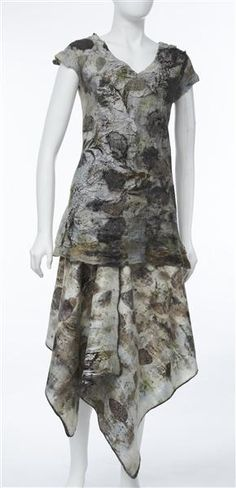 Eco-dyed wool and silk ensemble