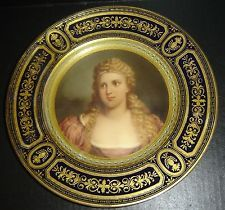 Antique Royal Vienna Ernst Wahliss Gold Jeweled Plate Nobility Lady Portrait