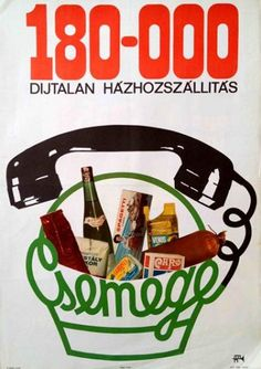 Csemege supermarket, home delivery advert. Hungary