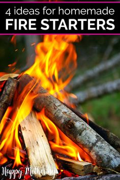 Learn how to make the best homemade fire starters four ways with natural items from around your house. Easy DIY ideas for making fires over the summer in the campfire ring or fire pit on family camping trips or in the fireplace over the cold winter. All you need to make your own are common things like egg cartons, dryer lint, toilet paper rolls, sawdust, etc. #diy #howto #firestarters #campfire #fireplace #doityourself #makeityourself #easycrafts #homemaking #campingideas #summer #camping… Homemade Fire Starters, Campfire Ring, Off Grid Tiny House, Types Of Wax, Old Candles, How To Make Fire, Fire Bowls, Old Newspaper, Outdoor Fire