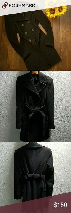 Bebe Wool Trench Style Coat Black 6 button classic wool coat, gorgeous layer piece, great with denim or over a special occasion dress. Coat has two pockets and a tie belt. Like new condition. 80% wool 20% polyamide bebe Jackets & Coats