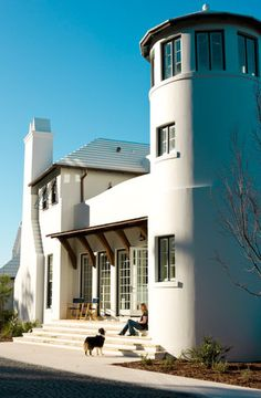 """One of our houses at Alys Beach- this is a """"fortified"""" construction of concrete and even the roof is designed of concrete tiles with 3 coats of lime wash- very sturdy even beyond standard hurricane codes.  #dungannequette #architecture #alysbeach"""