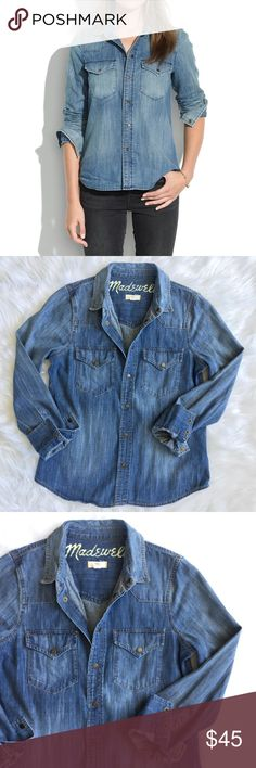 """NWOT Madewell Western Jean Shirt From Madewell: """"Authentic to the very last snap, this tried-and-true western shirt only gets better after multiple washes."""" True to size, cotton. Never worn! Still has the remove before wear/wash tag. Style #05806. Sold out everywhere!! Great closet staple 👍🏽 Color is Pond Wash. Model pics are more accurate of color than actual pics. Madewell Tops Button Down Shirts"""