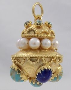Beautiful Estate Etruscan 18K Gold w Pearl Turquoise Lapis Pendant Charm 1 1 8"