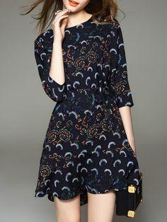 #AdoreWe #StyleWe Mini Dresses - YuJia Crew Neck Casual Cotton 3/4 Sleeve Mini Dress - AdoreWe.com