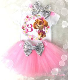 Skye Paw Patrol Pink Fourth Birthday Shirt Tutu Tee Silver Sequins Bow Headband Set Baby Girl Outfit Set Party Dress Custom Cake Smash Skye Paw Patrol Cake, Sky Paw Patrol, Fourth Birthday, Birthday Tutu, Birthday Shirts, Tutu Outfits, Girl Outfits, Rock Outfits, Emo Outfits