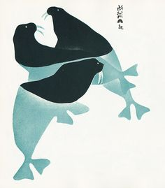 "the internet informs me that this is ""inuit art: three walrus, by sheowak, wife of a seal hunter. made in 1960."" i love the way the water line is implied, and the way the tusks match the underwater skin."