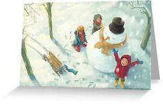 Weiße Weihnachten mit Schneemann - das wäre was! Falls es dieses Jahr wieder ausfällt, haben wir diese wunderschöne Illustration für euch.