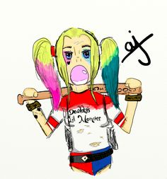 I am in love with Suicide Squad! And Harley Quinn was so amazing, good job Margot Robbie! So, I decided I wanted to use my new online drawing thing to draw her!  -Star