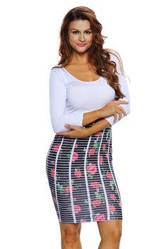 Robes Moulantes Courtes Jupe Rose Raye Pas Cher www.modebuy.com @Modebuy #Modebuy #Blanc #CommeMontre #Rose #mode