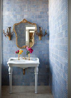 Beautiful Blue-Tiled Bathroom   photo Paul Raeside   House & Home