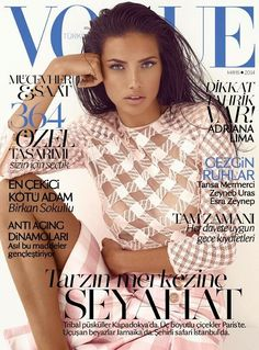 Vogue Turkey May 2014 - Adriana Lima photographed in a blush pink plaid top and skirt by Balmain.