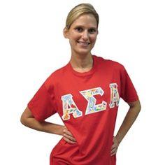 Alpha Sigma Alpha stitch letter t-shirt in designer fabric!