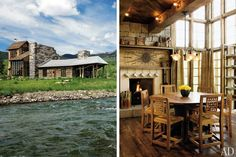 Designer William Sofield put a contemporary spin on the traditional log cabin for this ranch house in the Colorado Rockies, utilizing reclaimed wood and stone. The rustic triple-height breakfast area is flooded with morning sunlight thanks to numerous casement windows. (June 2010)