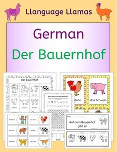 German Farm Animals  Auf dem Bauernhof. Flashcards, word wall, handout, worksheets, flip books, activities and games - this 80 page pack contains everything you need to teach 16 German words for talking about a farm.The vocabulary set includes: der Bauer, der Traktor, die Kuh, der Stier, das Huhn, das Schwein, das Schaf, die Ente, der Truthahn, die Ziege, das Pferd, der Hund, die Katze, das Feld, das Gatter, die Vogelscheuche.The pack comprises:1.