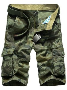 Men/'s Relaxed Fit Cotton Zip Fly Cargo Shorts Multi Button Flap Pockets