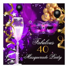 40 fabulous teal blue gold 40th birthday party invitation 40th