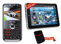 Accord Tab T7 with Q155 Dual Sim Qwerty Mobile   Pouch at Rs.4999 Only