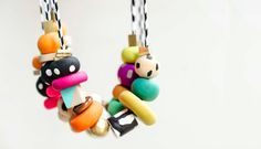 Clay + Pattern Handpainted Necklaces, colorful and unique necklace, gift for her
