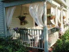 Summer Porch Makeover with Valspar Paint Colors Summer Front Porches, Small Front Porches, Summer Porch, Decks And Porches, Front Door Porch, Front Porch Design, Front Porch Curtains, Side Porch, Outdoor Curtains