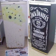 Antes e depois do envelopamento geladeira Jack Daniel's