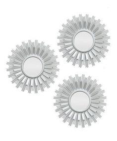 Look at this #zulilyfind! Silver Sunburst Wall Mirror - Set of Three #zulilyfinds