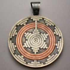Pendant | Roland Begay (Navajo). ' Ceremonial Basket'  Sterling Silver & Copper