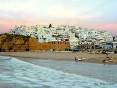 Albufeira is a city, a county (concelho) and community (freguesia) at the Algarve in southern Portugal. Albufeira has a roughly history. Spain And Portugal, Portugal Travel, Summer Destinations Europe, Albufeira Portugal, Places To Travel, Places To Visit, Portugal Holidays, Nature Sauvage, Malaga