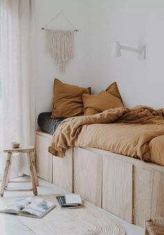 Our guest bedroom makeover with plywood Super King Mattress, White Wall Lights, Plywood Storage, Plywood Interior, Fantasy Bedroom, Loft, Bed Wall, Guest Bed, Decoration