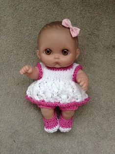 "Hand knitted dolls clothes to fit 8"" Berenguer L'il Cutsie doll/Lots to Love doll"