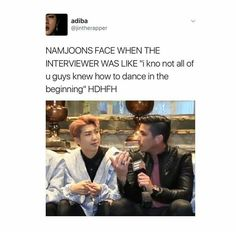 "Namjoonie be like: ""you don't even know the half of it"" lol and Bang PD-nim said they'd only have to rap ;)"