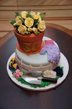 Flower Pots Birthday Cakes | Garden theme flower pot cake — Birthday Cakes