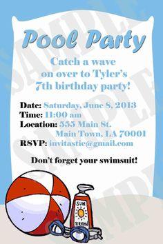 Pool Party Birthday Invitation by InvitasticInvites on Etsy, $10.00