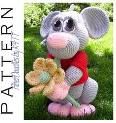 Crochet Pattern - Mizithra the Mouse ~ Crocheted as directed with F hook, models which have been produced are approximately 18 inches tall. However, depending on your crochet style, this measurement may/will vary. ~