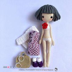 Crochet Amigurumi Dolls English: Crochet Doll Pattern-AiAi 艾艾 The Cheongsam gril Crochet Bear, Cute Crochet, Easy Crochet, Crochet For Boys, Amigurumi Doll, Amigurumi Patterns, Craft Patterns, Doll Patterns, Crochet Doll Pattern