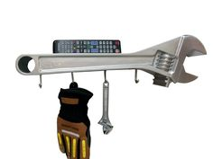 Monkey Wrench / Coat Rack - Great gift ideas for mechanic or handyman or any dad that likes his garage and his tools. Make a great Fathers Day gift. Diy Father's Day Gifts, Great Father's Day Gifts, Father's Day Diy, Great Teacher Gifts, Mechanic Gifts, Gifts For Hubby, Adjustable Wrench, Wall Shelves, Wall Hooks