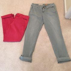 Anthropologie 2 chino bundle ✳️These are practically brand new. I bought them both in the fall and wore them both only 1 time. After winter passed I lost weight and they don't fit anymore. They are still available in store $88 each. Looking to sell so I can re buy my new size. Super soft and comfortable. The fit is Hyphen. They are 99% cotton and 1% spandex. Light army green and rose color. Anthropologie Pants Ankle & Cropped