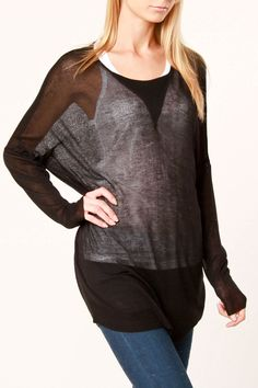 Black Sheer Sweater-Love the idea, but that white cami underneath blows. Try something I don't know- BLACK !