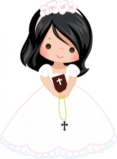 3 Adorable Girls First Communion PNGs First Communion Cards, Communion Gifts, Communion Cakes, First Holy Communion, Communion Dresses, Baptism Party Decorations, Baptism Banner, Paper Flowers Craft, Baby Clip Art