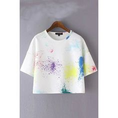 White Print Round Neck Short Sleeve T-shirt found on Polyvore featuring polyvore, women's fashion, clothing, tops, t-shirts, white short sleeve t shirt, loose t shirt, loose white t shirt, white round neck t shirt and loose fitting t shirts