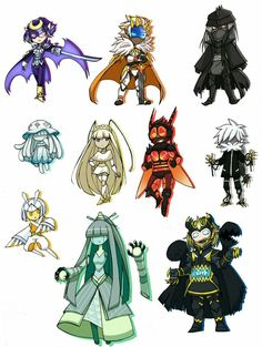 Human legendaries/ultra beasts! Necrozma, Buzzwole and Guzzlord look really cool!