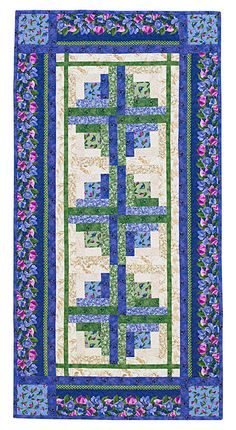 Log cabin table runner to make with fat eighths