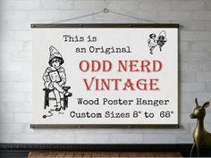 Wood Poster Hanger to / Wooden Art Hanger / Poster Print Frame / Pull Down Chart / Art Print Frame / Quilt and Textile Hanger Framing Supplies, Framed Art, Framed Prints, Art Prints, White Oak Wood, Vintage Records, Wooden Art, Vintage Textiles, Map Art