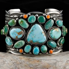 "Cuff | Guy Hoskie (Navajo).  ""Santa Fe Trail"".  Sterling silver, green Royston turquoise, orange spiney oyster shell  