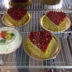 Sicilian pistachio cake with wild strawberries at Nonna Vincenza bakery in Rome Gnocchi, Pistachio Cake, Wild Strawberries, Bread And Pastries, Bakeries, Sicilian, Freshly Baked, Dessert Recipes, Desserts