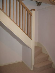 This softwood winder staircase was for a loft conversion. It has an all oak balustrade. Oak Handrail, Timber Staircase, White Staircase, Oak Stairs, Staircase Design, Stair Banister, Banisters, Cottage Staircase, House Stairs
