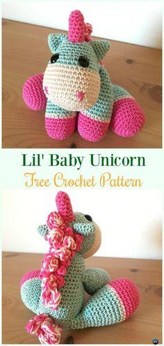 Crochet Lil' Baby Unicorn Amigurumi Free Pattern- #Amigurumi Crochet #Unicorn; Toy Softies Patterns