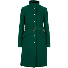 M&S Collection Wool Blend Funnel Neck Belted Overcoat ($145) ❤ liked on Polyvore featuring outerwear, coats, green, over coat, wool blend overcoat, belted coat, wool blend coat and funnel coat