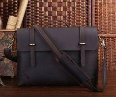 Vintage Dark Brown Full-Grain Leather Briefcase Messenger Bag