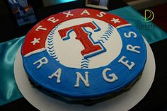 Texas Rangers groom's cake at Northeast Wedding Chapel  www.WaltersWeddingEstates.com #TexasRangersCake